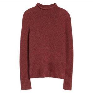 MADEWELL | Wool Blend Mock Neck Burgundy Sweater